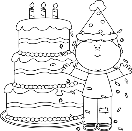 Birthday Celebration Clip Art Black And White