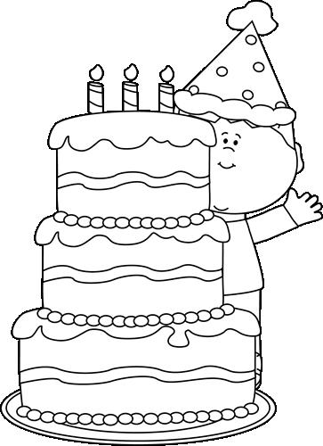 Black and White Boy with Birthday Cake