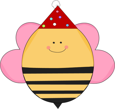 Girl Girl Birthday Bee in a Party Hat
