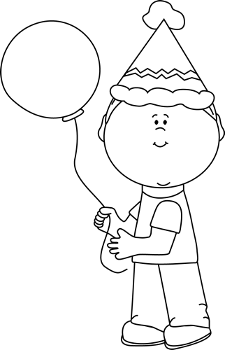 Black And White Kid With Birthday Balloon Clip Art Black