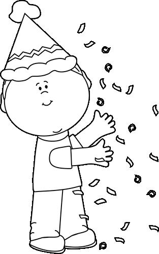 Black And White Kid With Birthday Confetti Clip Art