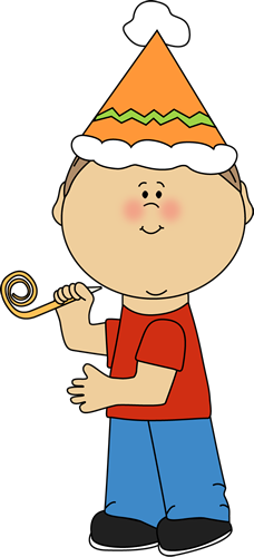 Kid with Birthday Party Whistle Clip Art Kid with Birthday Party
