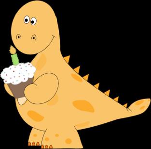 Orange Orange Dinosaur Birthday Cupcake