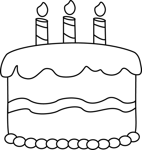 Small Black and White Birthday Cake Clip Art - Small Black ...