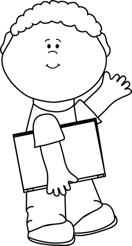 Black and White Boy Carrying Book and Waving