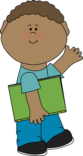 Boy Carrying Book and Waving