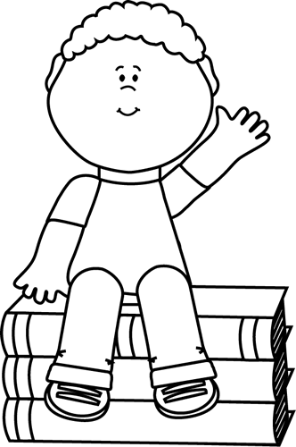 Black and White Boy Sitting on Books and Waving Clip Art ...