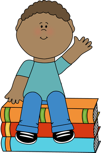 Boy Sitting on Books and Waving
