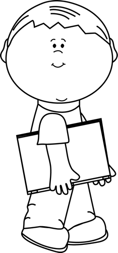 Black and White Boy with a Book Under His Arm Clip Art ...