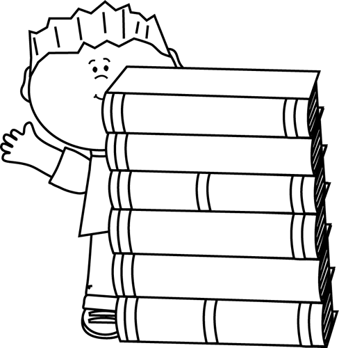 Black and White Boy Waving Behind Books
