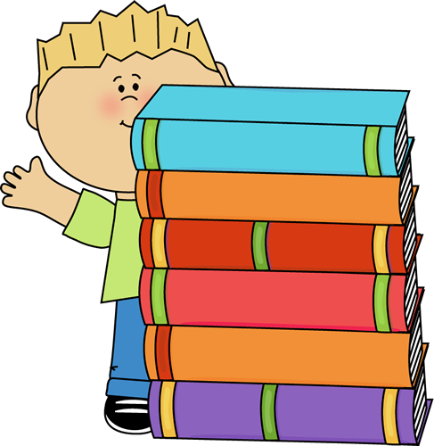 Boy Waving Behind a Stack of Books
