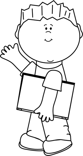 Black and White Boy with Book Waving
