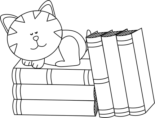 Black and White Cat Sleeping on Books