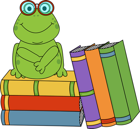 Frog and Books Clip Art