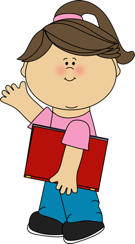 Girl Carrying Book and Waving