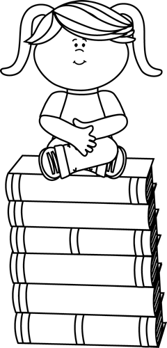 Black and White Black and White Girl Sitting on Books
