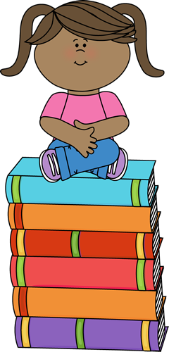 Child Reading While Sitting On A Stack Of Books - Cartoon , Free  Transparent Clipart - ClipartKey