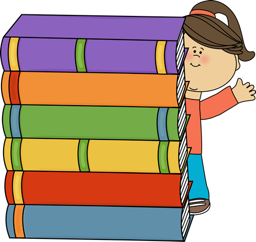 Girl Standing Behind Stack of Big Books