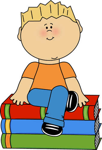 Kid Sitting on Books