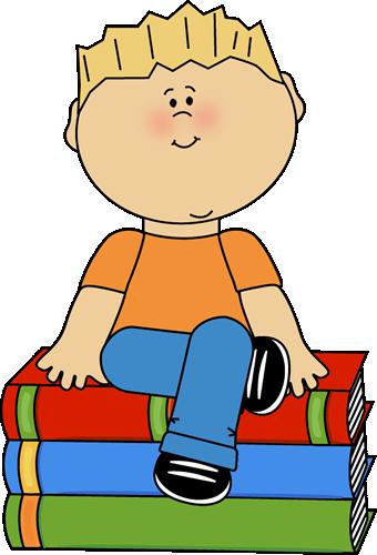 Kid Sitting on Books