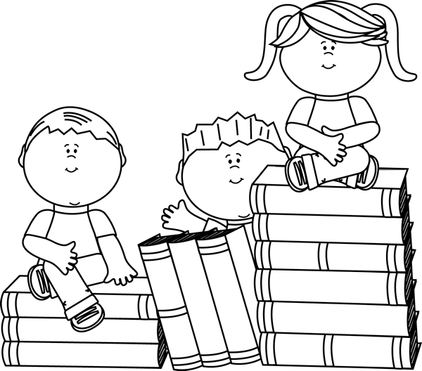 Black and White Kids Sitting on Books Clip Art Image - black and white ...
