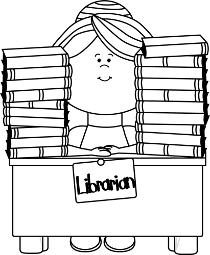 black and white librarian clip art   black and white