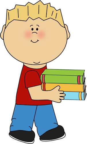 Little Boy Carrying a Stack of Books