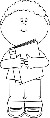 Black and White Little Boy Hugging a Book