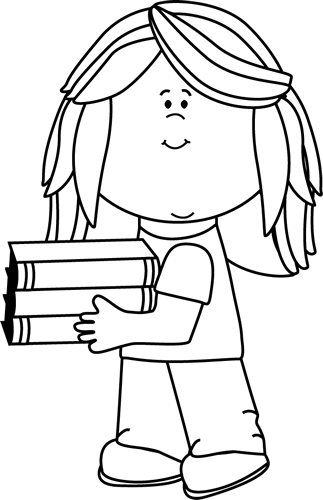 Black And White Little Girl Carrying School Books Clip Art