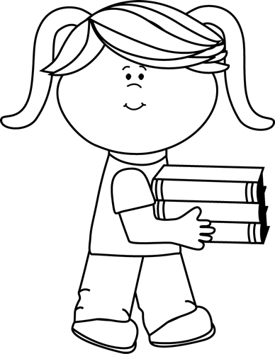 Black And White Little Girl Carrying A Stack Of Books