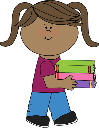 Little Girl Carrying a Stack of Books
