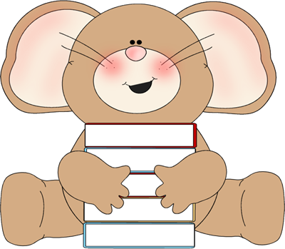 Mouse with Stack of Books