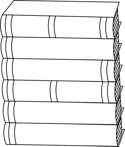 Black and White Stack of Books Clip Art - Black and White Stack of ...