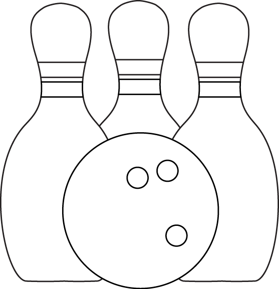 Black & White Bowling Pins and Ball