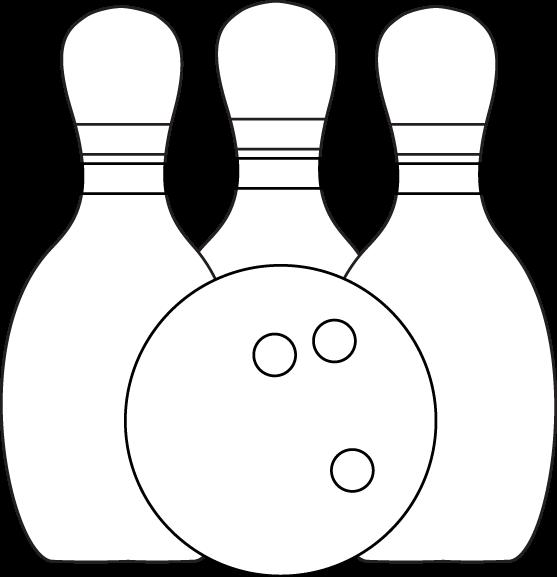 Black & White Bowling Pins and Ball