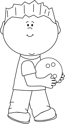 Black and White Boy with Bowling Ball