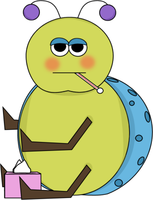 Flu Bug Clip Art Image - sick flu bug with thermometer in its mouth ...