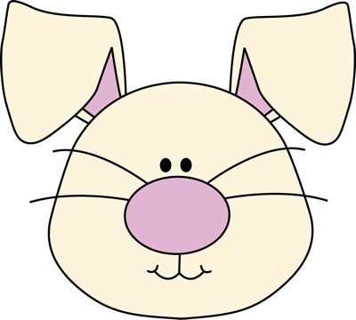 Bunny Face clip art image - white bunny rabbit face with a big purple ...