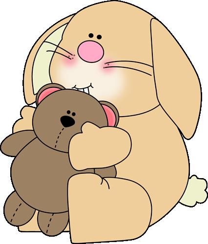 Bunny Holding Teddy Bear