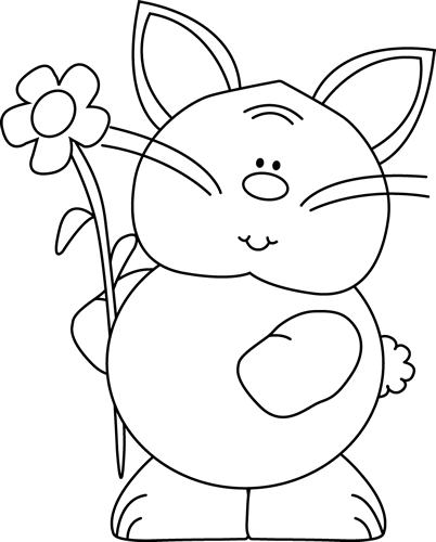 Black and White Cute Bunny with a Flower