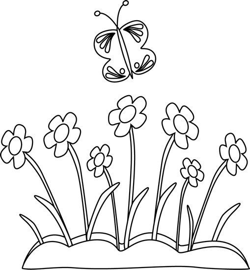 Flower black and white butterfly. Flowers clip art