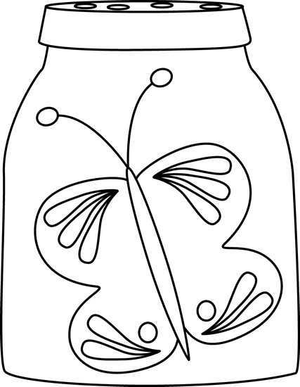 Black and White Butterfly in a Jar