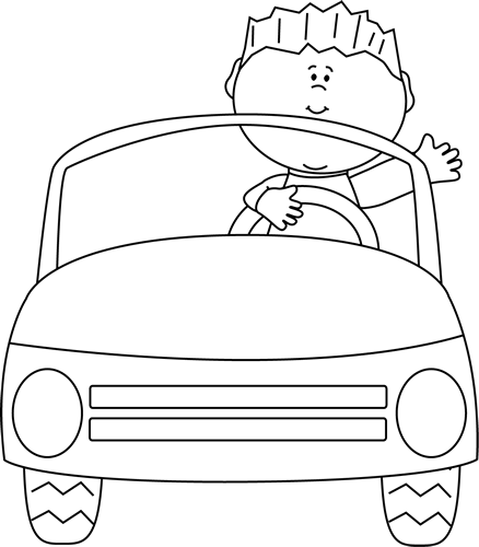 Black and White Boy Driving a Car