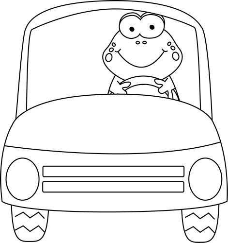 Black and White Frog Driving a Car
