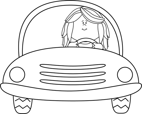 Black and White Girl Driving a Car Clip Art - Black and ...