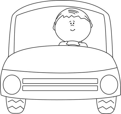 Black and White Kid Driving a Car