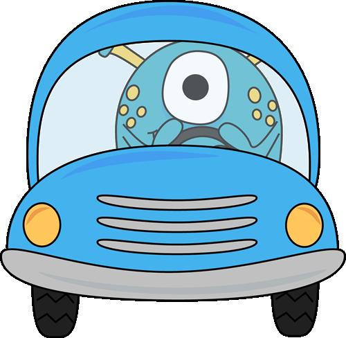 Monster Driving a Blue Car