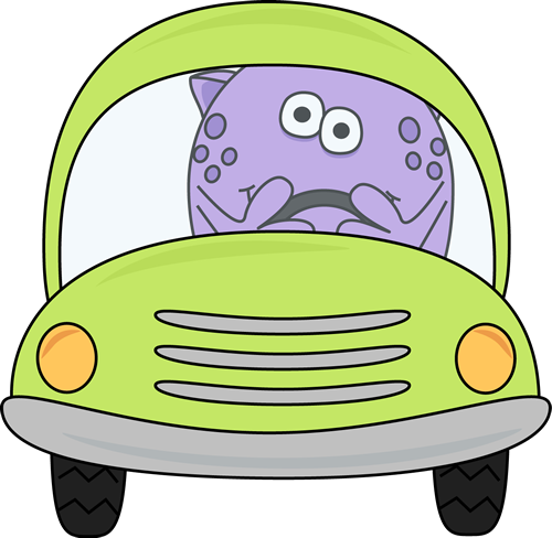 Monster Driving a Car
