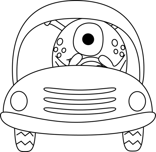 Black and White One Eyed Monster Driving