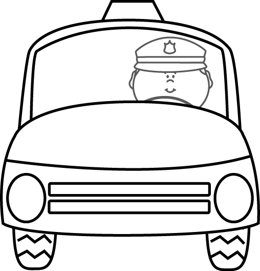 Black and White Police Officer Driving Car